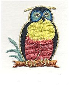 1Pcs Applique Patches Logo Patterns Animal, Cute Tropical Exotic OWL BIRD Embroidery Applique pPatch Iron-on Sewing Lace Embroidered Craft Supply Fabric Decorative, Size 1.75