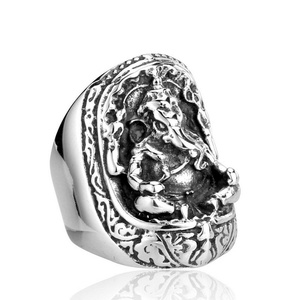 ARICO Elephant God Rings Popular In Thailand Fashion Stainless Steel Man Rings 12.0