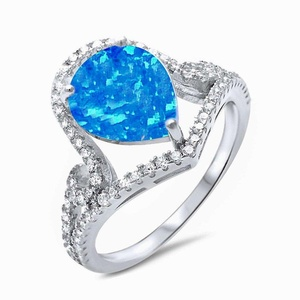 Pear Shape Lab Created Blue Opal Clear Cubic Zirconia Wedding Engagement Silver Ring Size 9