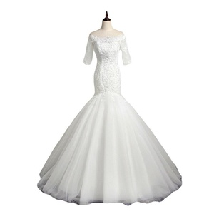Favors Women's Off Shoulder Mermaid Lace Wedding Bridal Dress with Sleeves White 18W