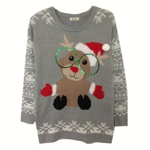 Annisking Womens Christmas Sweater Snowman Snowflake Jumper Pullover Gray S -8L01