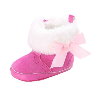 Iuhan New Baby Keep Warm Soft Sole Snow Boots Soft Crib Shoes Toddler Boots (Age:6~12 Month, Hot Pink)
