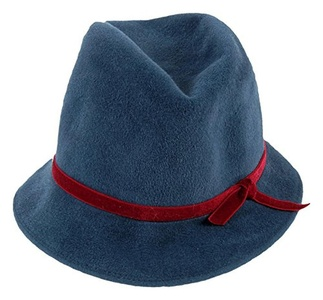 Patricia Underwood For J Crew Felted Fedora One Size Green W/ Red Ribbon