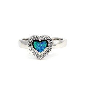 Heart Promise Ring Lab Created Blue Opal Round Cubic Zirconia 925 Sterling Silver