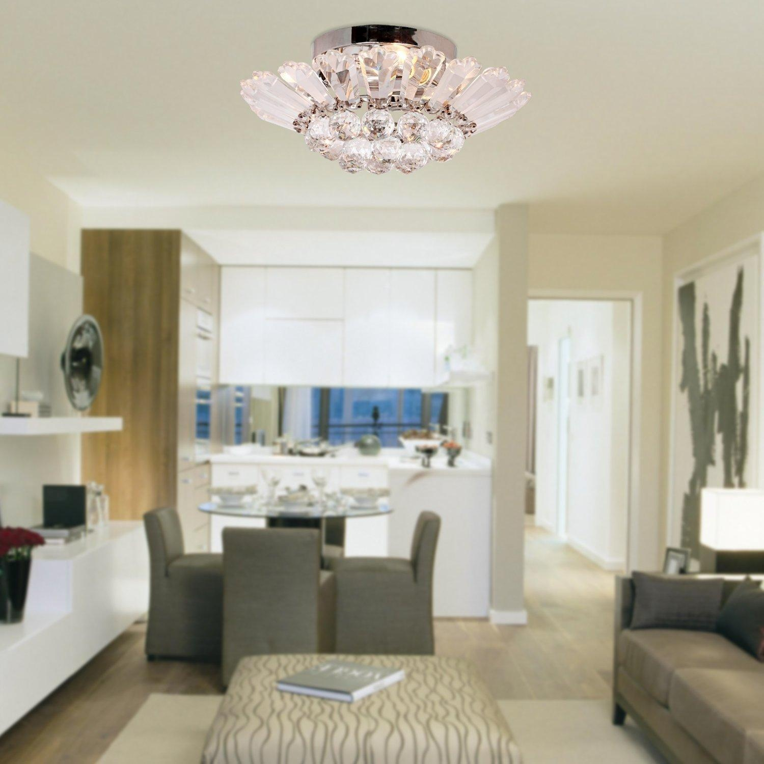Online Store Comeonlight Modern Semi Flush Mount In Crystal Feature Home Ceiling Light