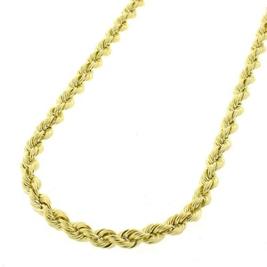 14k Yellow Gold Mens Womens 3mm Solid Rope Cable Chain Necklace 16