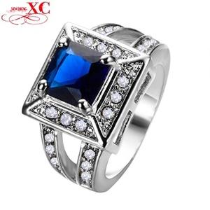 Cherryn Jewelry Punk Style Blue Zircon Stone Ring Men White Gold Filled Jewelry Wedding Ring RW0270