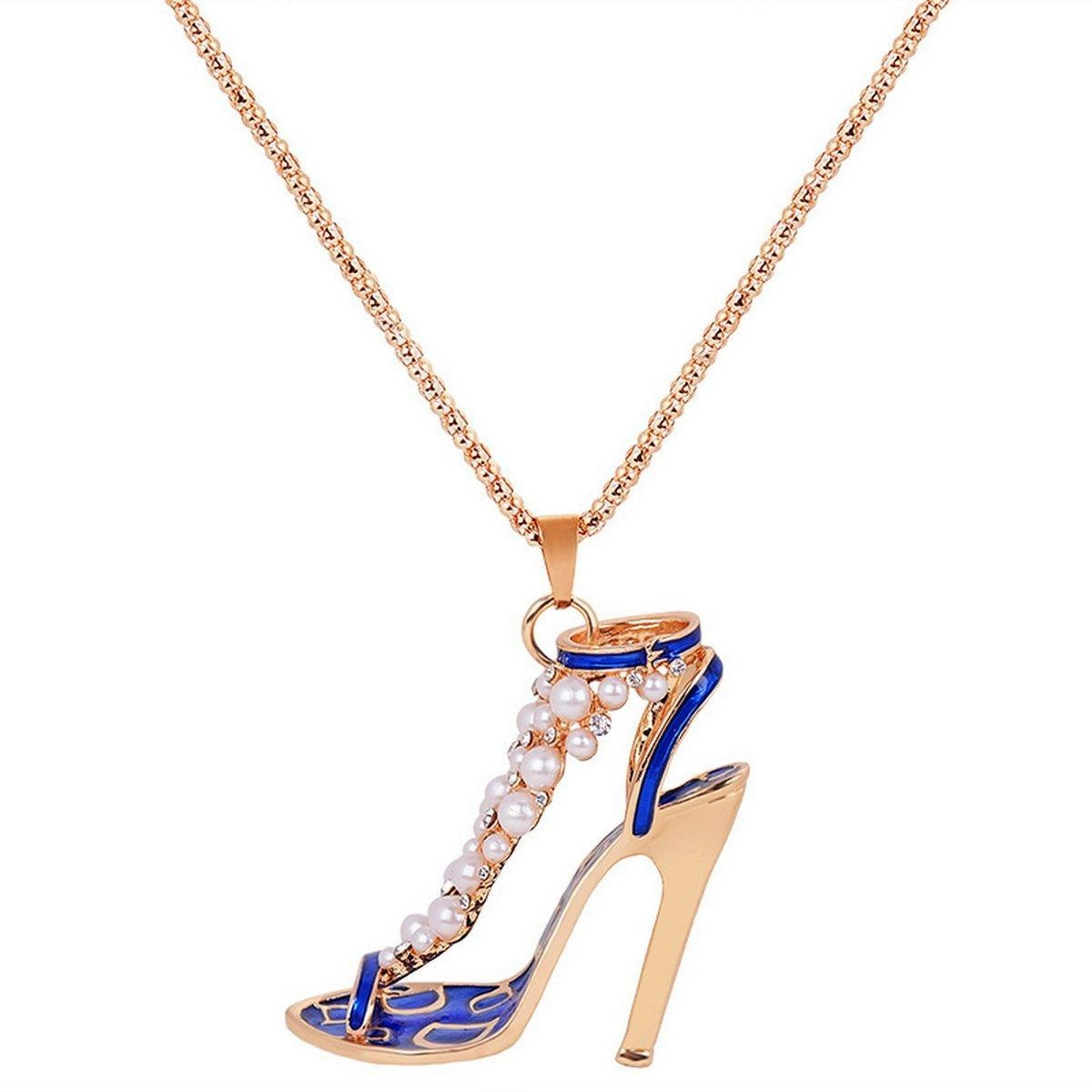 ARICO High Heels Pendant Necklace Crystal Necklace Pearl Necklace Enamel Jewelry Keychain NE813