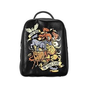 You Win Or You Die Unisex PU Leather Computer Laptop Backpack, Travel Bag Hiking Knapsack,School College Student Backpacks Shoulder Bags for Women/Girls,Men/Boys