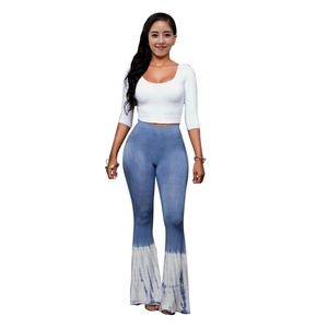 Women Fashion Half Sleeve Crop Top and Tie Dye Print Flared Bell Bottom Pants 2 Pieces Set