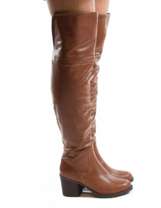 Bamboo Womens Premium Faux Suede Thigh High Stock High Heel Riding Boots Victoria01 Color Chestnut Size 7