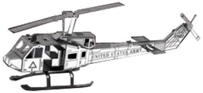Metallic nanopuzzle Huey helicopter TMN-09 by Metallic Nano Puzzle