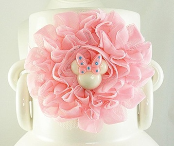Girl's Flower Headband, USA Baby Shabby Chic Hairband, Peachy-Pink Minnie Mouse Floral Headgear, Kids Fashions