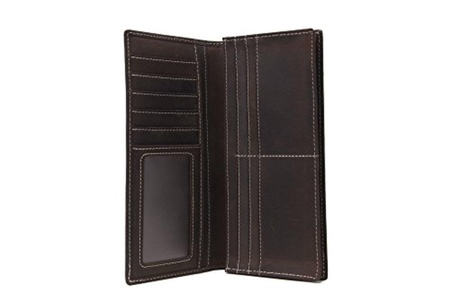 Handmade Genuine Leather Wallet Men Long Wallet Money Purse Card Holders