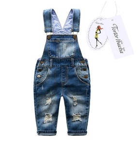 Baby Little Boys' Distressed Ripped Denim Bib Overall Blue 4
