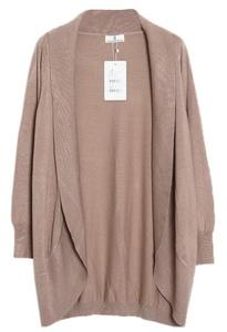 Smile YKK Korean Coat Shawl Long Sleeve Knitting Cardigan Sweater Light Tan M