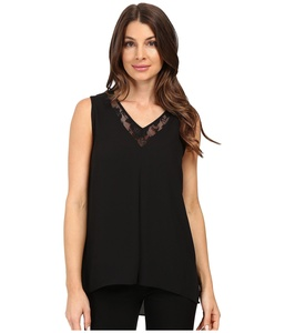 Vince Camuto Women's Sleeveless Lace Front High-Low Hem Blouse Black Blouse LG