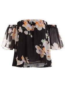 Floerns Women's Casual Print Off Shoulder Flare Sleeve Top Loose Blouse Orange Black M