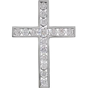 14kt White 1 CTW Diamond Cross Pendant