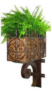 Faux Finish Brown Taupe Iron Wall Planter with Bracket