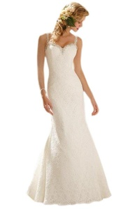Aurora Bridal 2016 Women Spaghetti Straps Backless Mermaid Wedding Dress White 18W