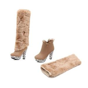 Women's Faux Fur Overknee Rounded Toe Platform Stiletto Multi-Use Ankle High Heel Boot for Fall Winter Beige Size: EU Size 37 - US B(M) 6.5-7