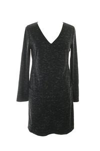 Studio M Black Space-Dye Pocketed Sheath Dress M
