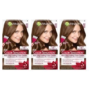 Garnier Hair Color Sensation Rich Long-Lasting Color Cream, 6.0 Light Natural Brown, 3 Count