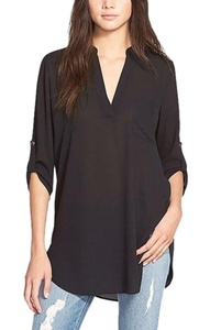 Women's Blouses&Tops Casual Cuffed Sleeve V Neck Pure Color Tee Shirts Black XL
