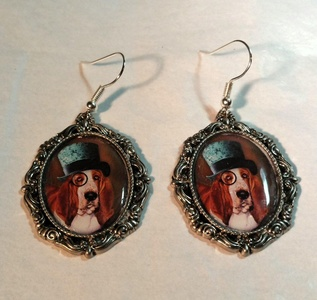 Victorian Fantasy Steampunk Fred Dog Earrings