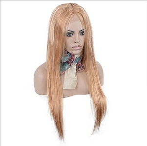 iVogue Hair #27 Honey Blonde Human Hair Full Lace Wig Virgin Brazilian Human Hair Wigs Silky Straight with Baby Hair 7A Grade Virgin Hair 16inch-22inch 130denisty (22inch)