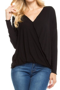KLKD Women's Drop Shoulder Surplice Long Sleeve Top Black Small