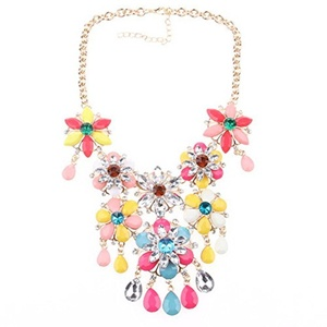 ARICO Electroplating Pendant Maxi Necklace choker Flower gold chain Long neckalce Charm Statement Necklace pendant