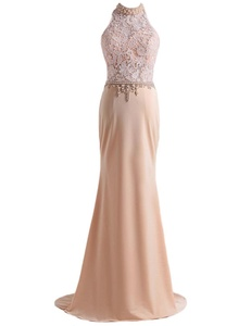 M Bridal Women's Beaded Pearls Illusion High Neck Long Mermaid Formal Prom Dress Champagne Size 24
