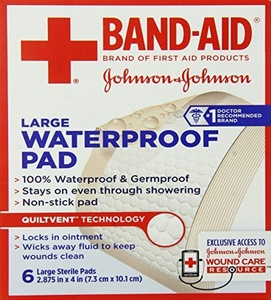 Band-Aid First Aid Pads, Large Waterproof Gauze Pad, 6 Count (Pack of 6) by Band-Aid