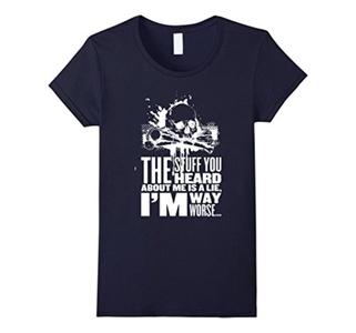 Women's I aM WAY WORSE T-shirt Medium Navy