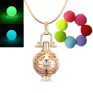 Sahrefashion Hollow Can Open Pendant Necklace Locket Necklace for Fragrance Aromatherapy Essential Oil Diffuser Luminous Bead Pendant (Yellow+2L)