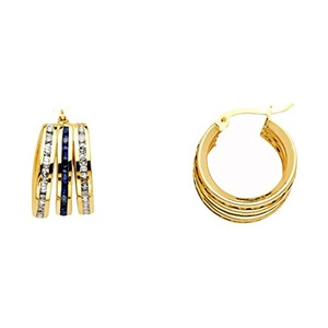14K Solid Yellow Gold Blue and White Cubic Zirconia Triple Huggies