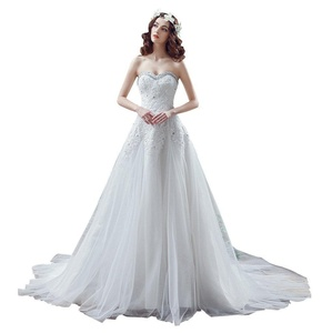 MCandy Wedding Birdal Gowns Women Sweetheart Beaded Lace Tulle Plus Size Evening Dress 14 US White