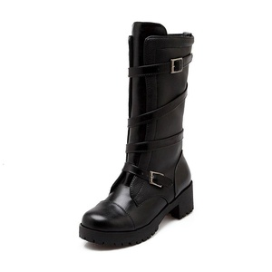 Venkes Women's Winter Buckle Platform Round toe Chunky Heel Mid-Calf Boots