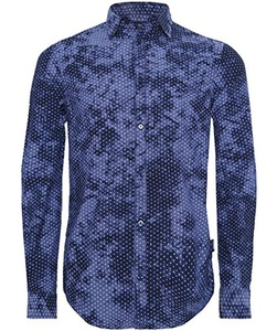 Armani Jeans Men's Regular Fit Micro Star Shirt Blue XXL