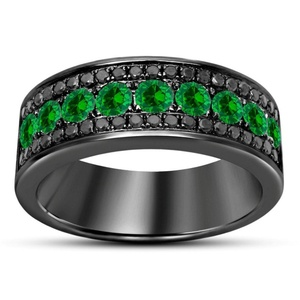 TVS-JEWELS TVS-JEWELS Black Rhodium Plated 925 Silver Full Eternity Engagement Ring Wedding Band Set For Women's (6)