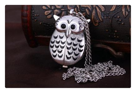 Retro Mini Owl pocket watch Necklace Chain,Necklace Pendant