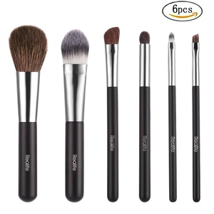 Kitdine Makeup brushes,Wooden Handle Professional Goat hair Pony Hair makeup brush set,Portable cosmetic brush,Make Up brush kit,6 pcs (Black)