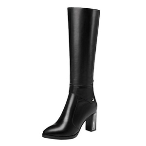 MERUMOTE Women's Autooisk Smooth Leather High Heels Genuine Leather Knee-High Boots