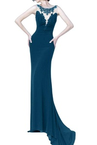 Winnie Bride Exquisite Lace Fitted Formal Evening Dress for Women Pageant Gown