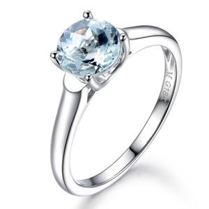 7mm Round Cut Natural Aquamarine Engagement Ring,14K White Gold,Wedding Promise Band,Anniversary Ring