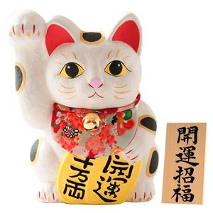 FUN fun Beckoning Cat (Maneki Neko) White Height 18-Inch Kaiunnshouhuku