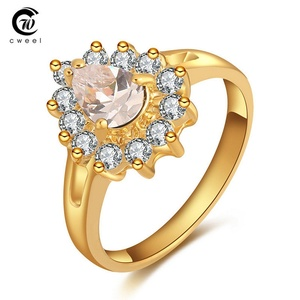 delatcha Jewelry Women Man Ring Engagement Accessories Wedding Ring For Gold Plated Crystal CZ Holiday