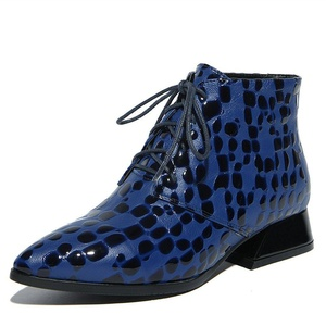 Nine Seven Genuine Leather Women's Pointed Toe Chunky Heel Floral Lace Up Handmade Fashion Ankle Bootie (7, blue)